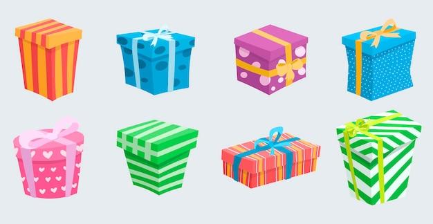 Wektor ilustracja zestaw ślicznych prezentów o różnych kształtach i kolorach. pudełka z kokardkami w jasnych kolorach. dekoracje z kreskówek na świątecznym tle.