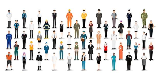 Wektor ilustracji różnych zawodów i zawodów