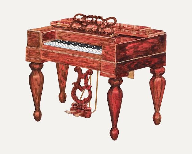 Wektor ilustracji vintage melodeon, zremiksowany z grafiki autorstwa rexa f. busha