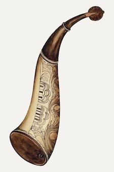 Wektor ilustracji vintage powder horn, zremiksowany z grafiki autorstwa williama mcauley