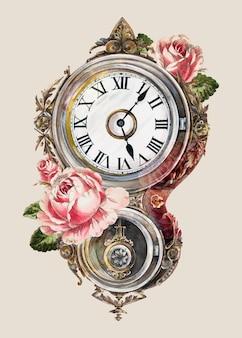 Wektor ilustracji vintage zegar ścienny, zremiksowany z grafiki autorstwa petera connin