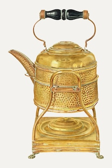 Wektor ilustracji vintage złoty czajnik, zremiksowany z grafiki autorstwa franka m. keane