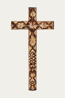 Wektor ilustracji z krzyżem w stylu vintage, zremiksowany z dzieła autorstwa margery parish