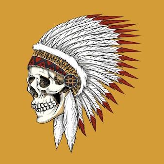Wektor indyjska czaszka. pióro i plemię, kość i szkielet, zachodni kowboj