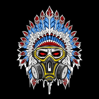Wektor indyjskiej czaszki w masce