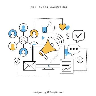 Wektor infograficzny marketingu influencjalnego