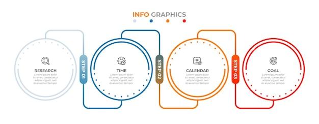 Wektor infografika etykieta cienka linia projekt z ikonami i 4 opcje lub kroki