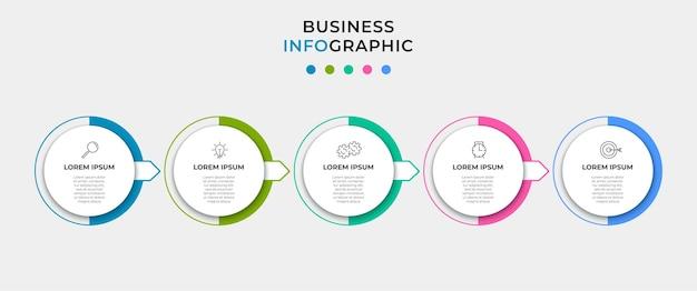 Wektor infografika szablon biznesowy z ikonami i 5 opcjami lub krokami