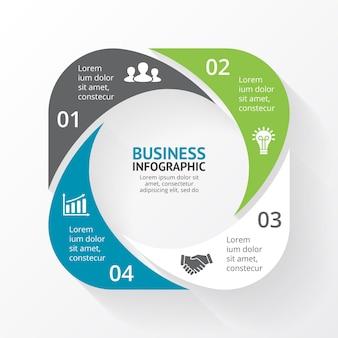 Wektor infografika szablon prezentacji koło diagram wykres 4 kroki części