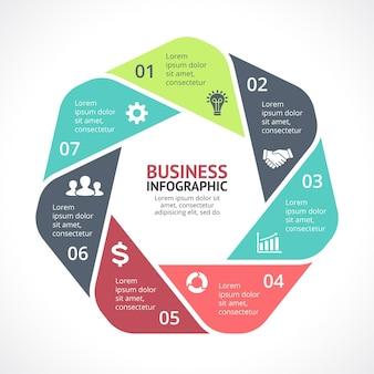 Wektor infografika szablon prezentacji koło diagram wykres 7 kroków części