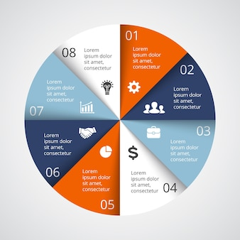Wektor infografika szablon prezentacji koło diagram wykres 8 kroków części