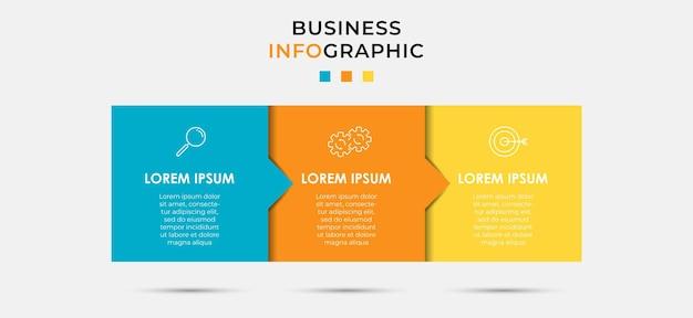 Wektor infografika szablon projektu etykiety biznesowe z ikonami i 3 opcje lub kroki. może być używany do diagramu procesu, prezentacji, układu przepływu pracy, banera, schematu blokowego, wykresu informacyjnego