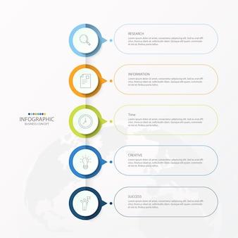 Wektor infografika szablon projektu z ikonami cienkich linii i 5 opcjami, procesem lub krokami.