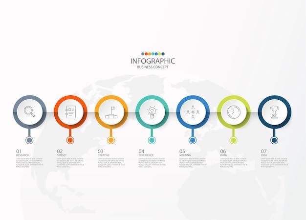 Wektor infografika szablon projektu z ikonami cienkich linii i 7 opcji, procesu lub kroków.