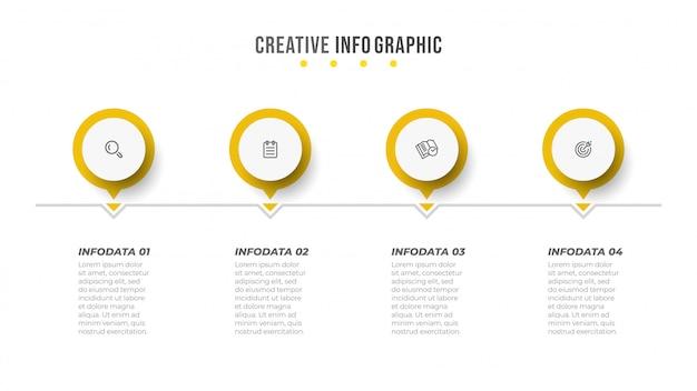 Wektor infografika szablon projektu z kółkiem i ikoną.