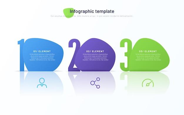 Wektor infografika szablon składający się z trzech ponumerowanych abstrakcyjnych kształtów