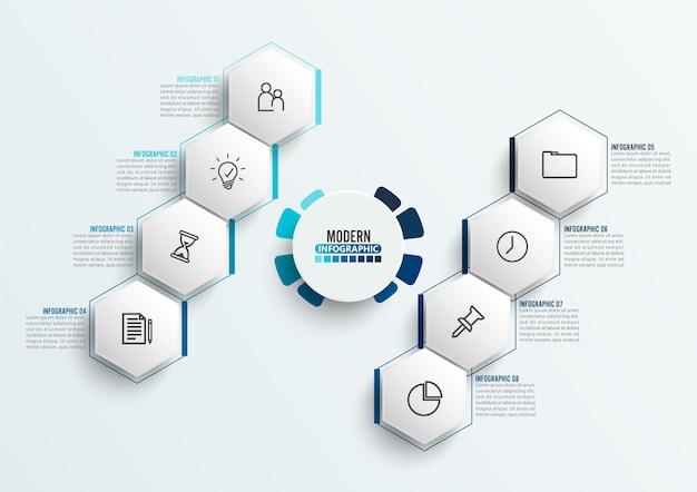 Wektor infografika szablon z papierową etykietą 3d, zintegrowane koła. koncepcja biznesowa z 8 opcjami. treść, diagram, schemat blokowy, kroki, części, infografiki osi czasu, przepływ pracy, wykres.