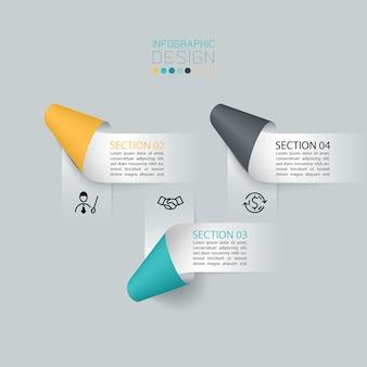 Wektor infografiki etykiety wstążki papieru, procesy opcje infographic.