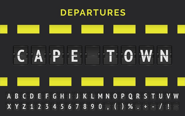 Wektor informacji o locie do celu w kapsztadzie w afryce z mechaniczną czcionką na lotnisku i znakiem odlotów samolotów.