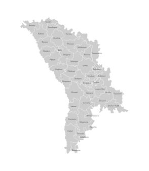 Wektor izolowane ilustracja uproszczonej mapy administracyjnej mołdawii. granice i nazwy dzielnic (regionów). szare sylwetki. biały kontur