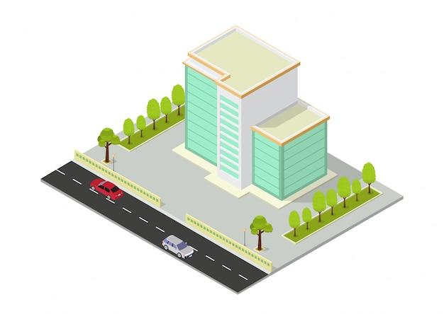 Wektor izometryczny budynek hotelu, biura, mieszkania lub wieżowca