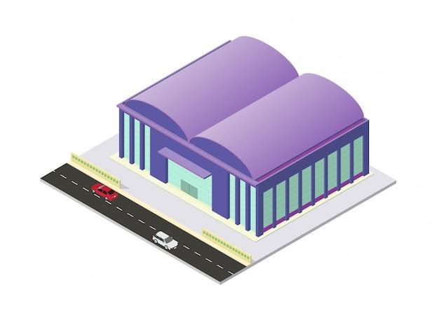 Wektor izometryczny budynek lotniska lub magazynu, izolacja na białym tle
