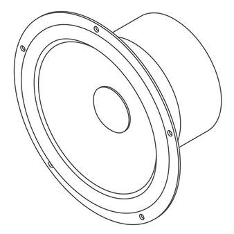 Wektor izometryczny głośnik samochodowy grafika liniowa
