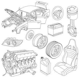 Wektor izometryczny ikon części samochodowych