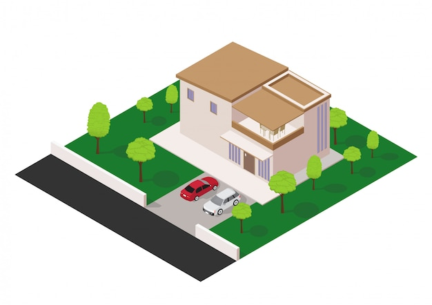 Wektor izometryczny nowoczesny dom