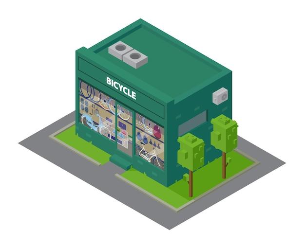 Wektor izometryczny sklep rowerowy budynek z prezentacją z rowerami i akcesoriami sportowymi.