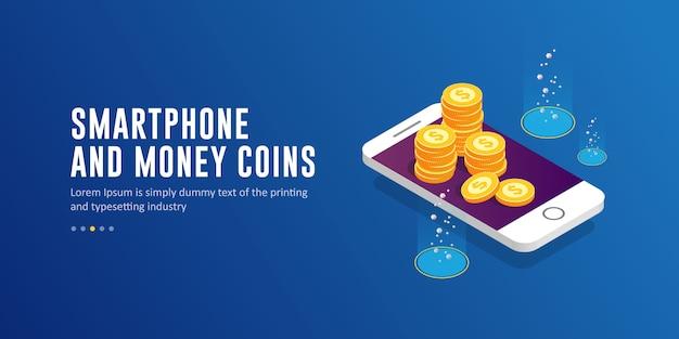 Wektor izometryczny smartphone i pieniądze monety z szablonu tekstu
