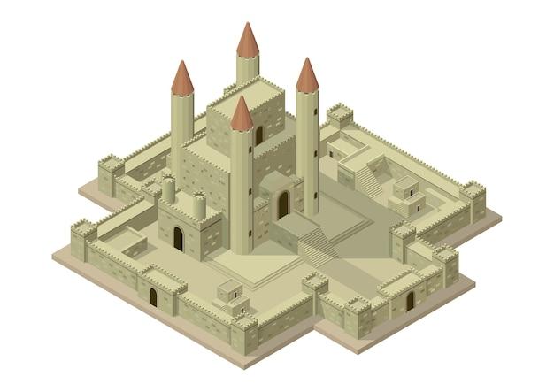 Wektor izometryczny średniowieczny zamek z murami, bramami i wieżami.