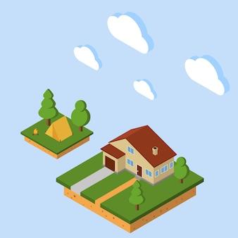 Wektor izometryczny wiejski dom. 3d camping izometryczny z namiotem i ogniskiem.