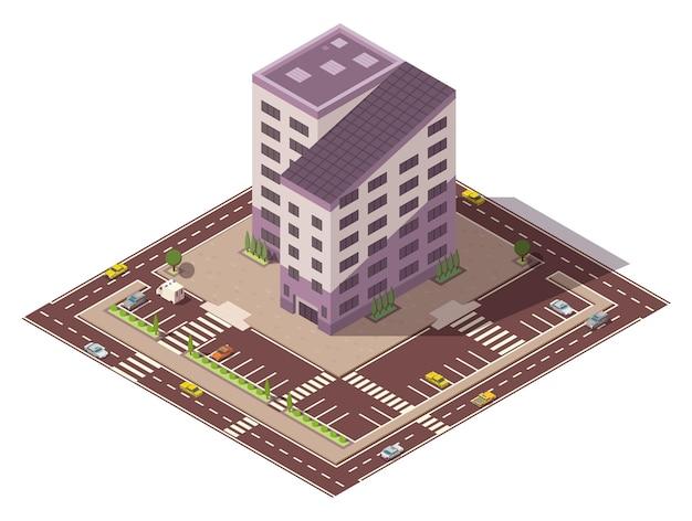 Wektor izometryczny wysoki budynek i elementy ulicy z miejscem na parking. element konstrukcyjny mapy miasta lub miasta. ikona reprezentująca budynek wielopiętrowy. domy, domy lub biura