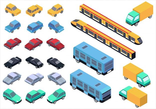 Wektor izometryczny zestaw samochodów, autobusów, ciężarówek i pociągów na białym tle.