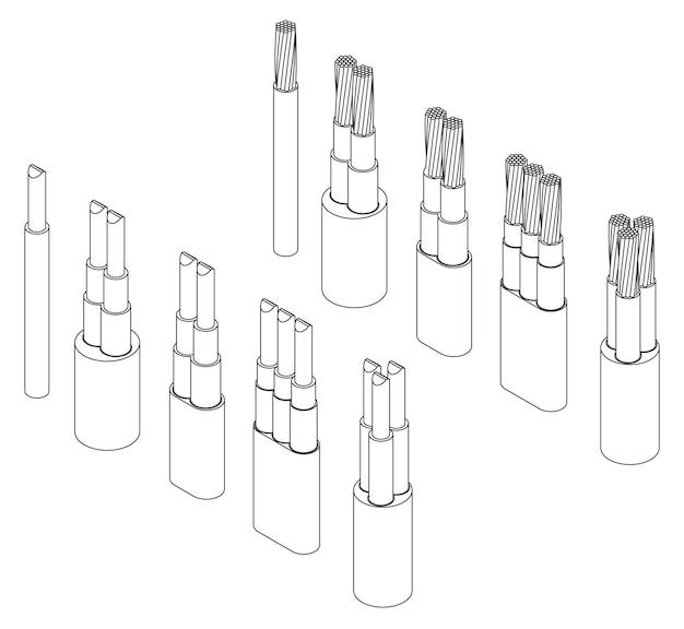 Wektor izometryczny zestaw zbrojonych przewodów elektrycznych kabli