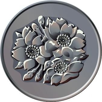 Wektor japoński monety sto jenów