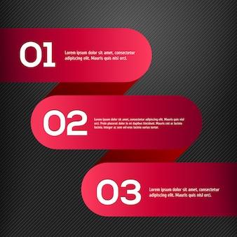 Wektor jasne 3d czerwone sztandary ustawione