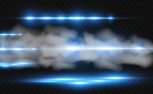 Wektor jasnoniebieski efekt specjalny świecące jasne paski na przezroczystym tle
