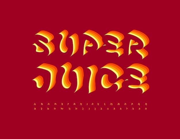Wektor jasny emblemat super juice artystyczny 3d czcionka pomarańczowa warstwa alfabetu zestaw liter i cyfr
