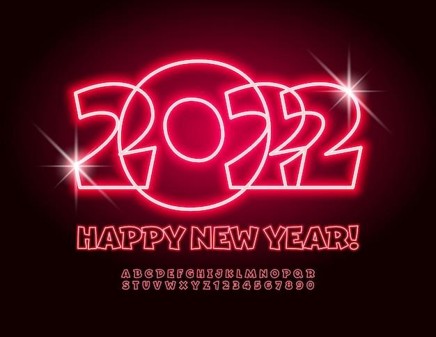 Wektor jasny kartkę z życzeniami szczęśliwego nowego roku 2022 świecące czerwone litery i cyfry alfabetu zestaw