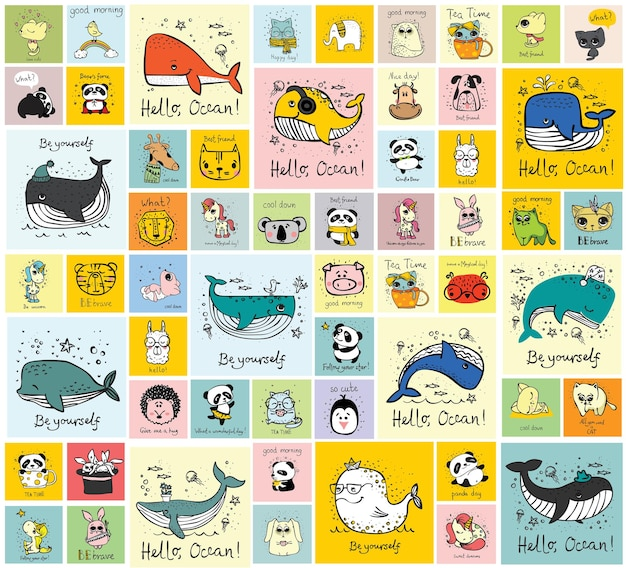 Wektor jasny kolor kreskówka zwierzęta dla dzieci edukacja abc lub karty flash gry mobilne lub książki il...