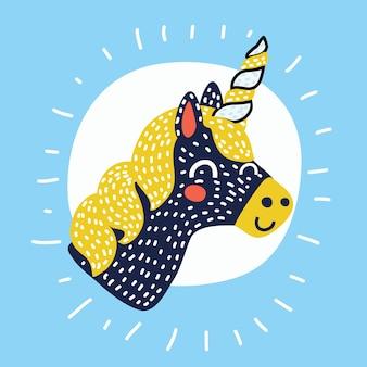 Wektor jednorożca. sen głowy konia. kolorowe książki. czarno-białe naklejki, ikona na białym tle. śliczne magiczne zwierzę fantasy kreskówka. symbol snu. projekt dla dzieci, wnętrze pokoju dziecięcego, design skandynawski