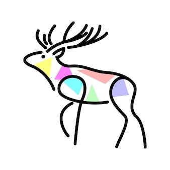 Wektor jelenia w stylu napełniania kształtów