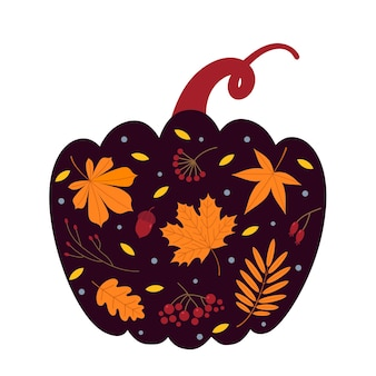 Wektor jesienne tło jesienne liście jagody żołądź wewnątrz dyni wektor płaskie illustratio
