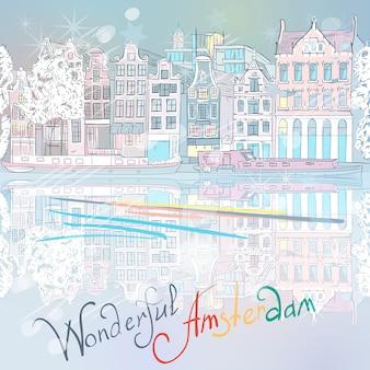 Wektor kanał bożonarodzeniowy w amsterdamie i typowe domy