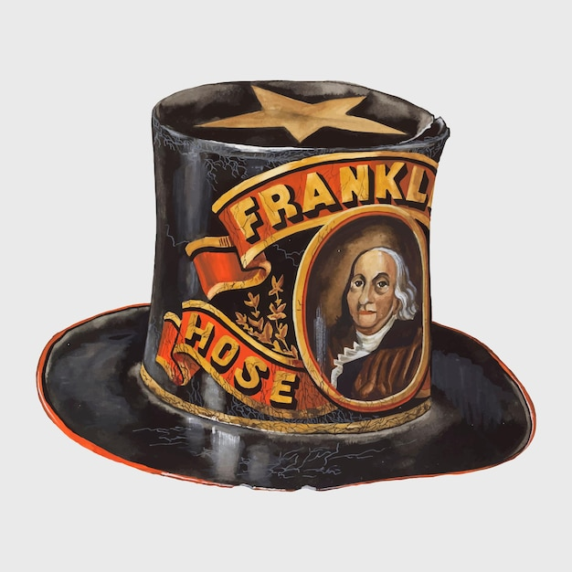 Wektor kapelusza strażackiego w stylu vintage, remiks z grafiki autorstwa page coffman