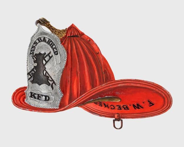 Wektor kapelusza strażackiego w stylu vintage, remiks z grafiki autorstwa