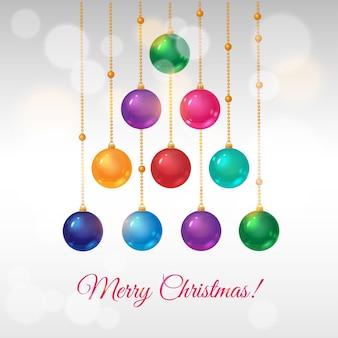 Wektor kartkę z życzeniami na boże narodzenie z choinką z kolorowych kulek ozdobnych