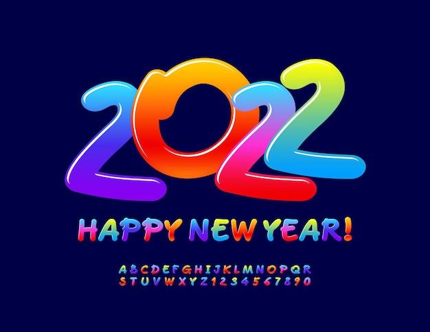 Wektor kartkę z życzeniami szczęśliwego nowego roku 2022 gradient kolor czcionki artystyczny alfabet litery i cyfry
